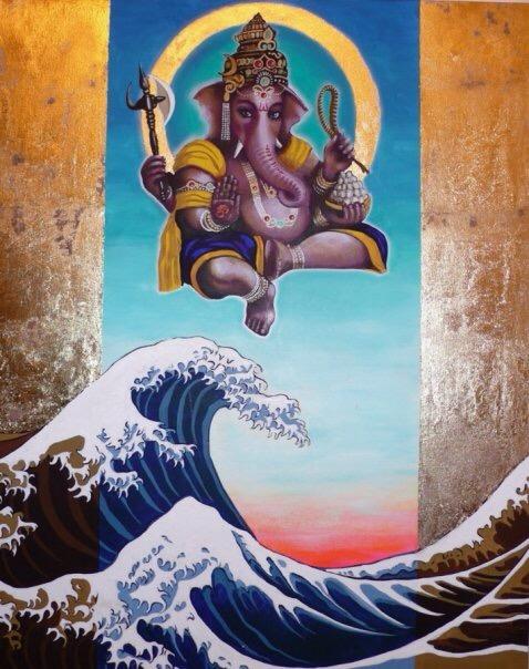 Ganesh and Hokusai wave