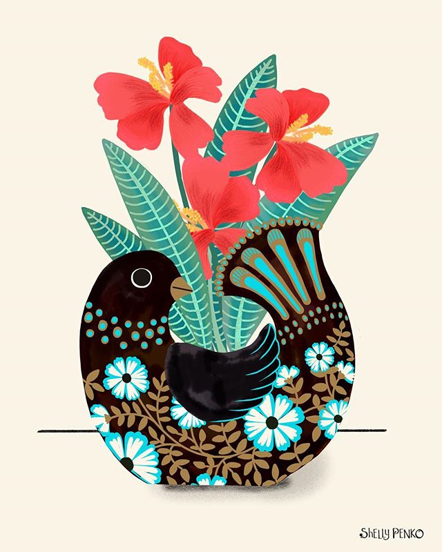 I have a weakness for plant pots shaped like birds and animals (and heads, and patterned, and...oh, ok, I like fancy plant pots of any kind 😂) so I guess that's why I started wondering how yesterday's birdie would look as a planter.  Well, now I know! Thinking I would like to change out the turquoise for a warmer color, but it's Sunday and I have more to do today as well as getting in some laziness, so turquoise it is!  Happy Sunday, everyone!  Hope you're having a good end of the weekend!  #illustratorsoninstagram #surfacepatterndesign #illustration #artlisensing #shelkypenko #containergarden #botanicalart