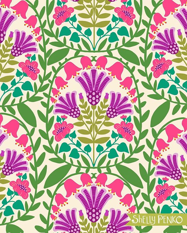 I hope you've all had a great weekend!  For today, here's another folk floral for week one of #exploreflorals with @victoriajohnsondesign .  #folkart #floralart #surfacepatterndesign #surfacedesign #shellypenko #givemealltheflowers #patterndesign