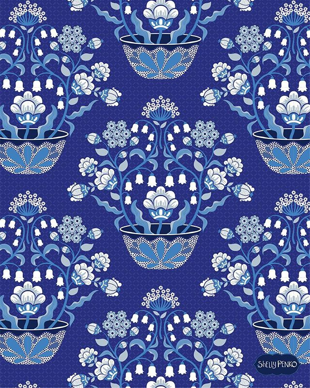 Indigo!  Loving this color palette from #exploreflorals class, but I can't decide which repeat to go with!  Which one do you prefer?  I'm hoping to have time to do something looser later in the week! @victoriajohnsondesign #illustratorsoninstagram #surfacepatterndesign #surfacepattern #artlicensing #blueandwhite #blueandwhiteforever #shellypenko #floralart #vectorart #repeatpattern