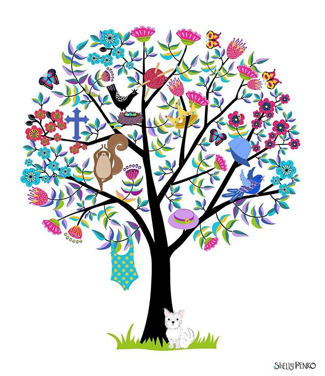 I recently had the privilege of creating a memorial for a wonderful woman who had been beloved by her local YMCA community where she had taught swimming for 30 years.  They wanted my Joy Tree design with special motifs added to represent the passions of their beloved friend.  The final version to be printed on large plexiglass glass and displayed at their YMCA.  I got so much satisfaction learning about her and trying to create something whimsical I thought she would like.  They were very pleased with the outcome, which was good for my soul! ❤️ #remembrance #memorial #artlicensing #joytree #illustratorsoninstagram #shellypenko #whimsicalart