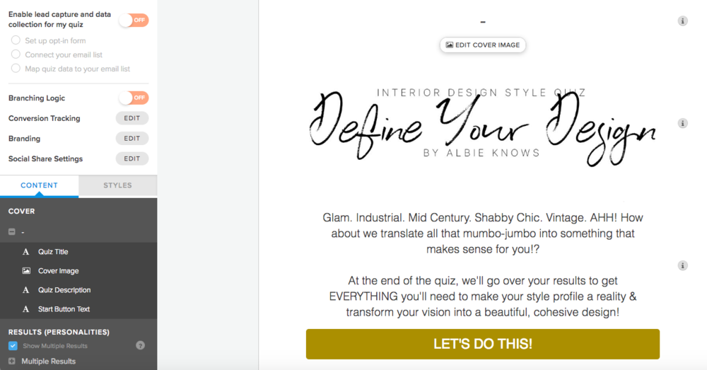 Intake Style Quiz