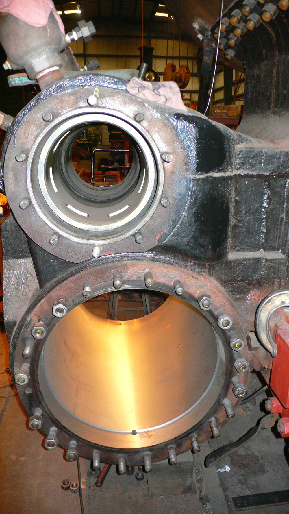 Steam locomotive cylinder and valve liners after having been bored out to a perfect, round finish.