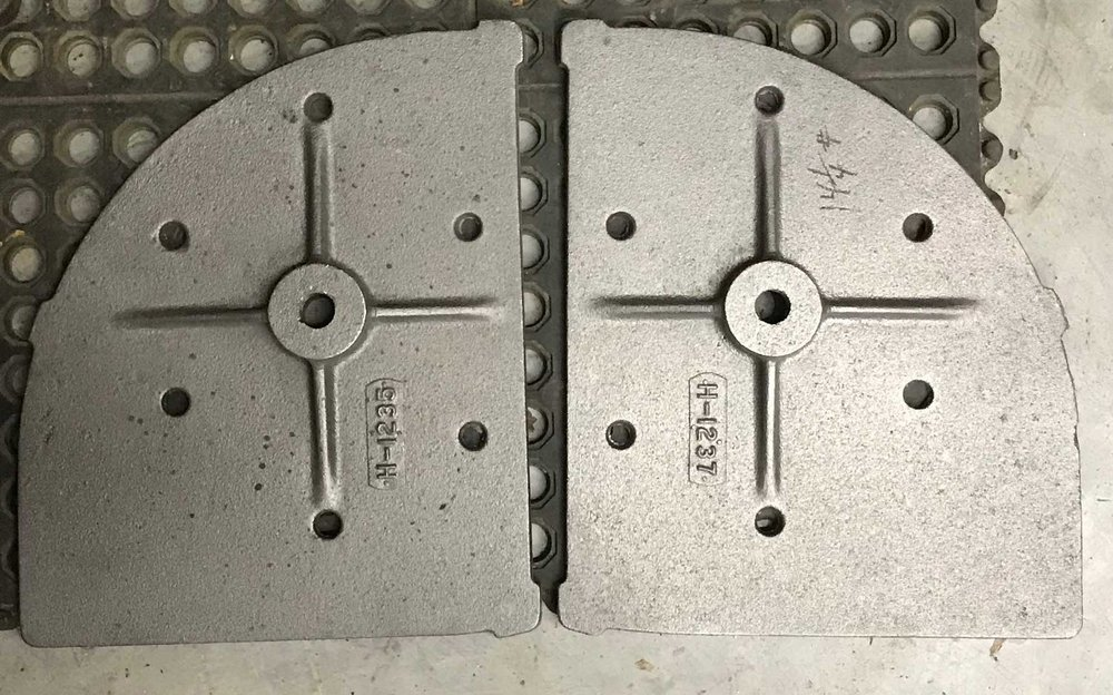 Our pattern makers work hand-in-hand with foundries to create replacement parts, such as these firedoor components.