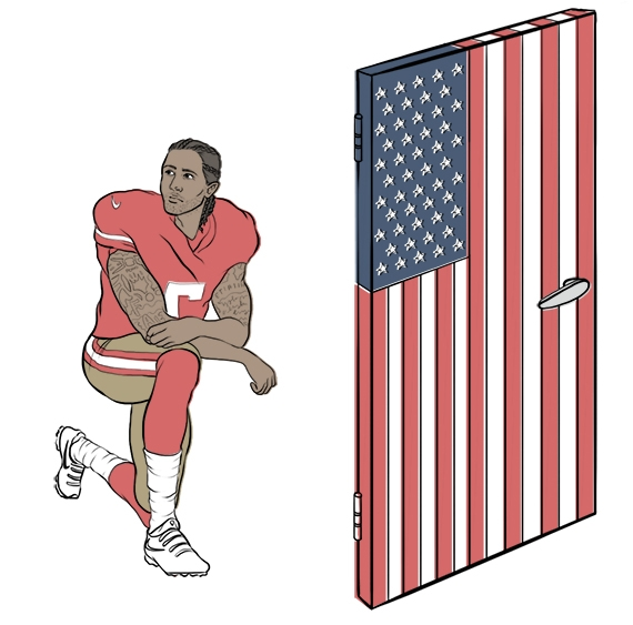 Deep Dive on: #TakeAKnee - #TakeAKnee began back in summer '16, when San Francisco 49ers quarterback, Colin Kaepernick (pronounced CAP-ER-NICK), started kneeling during the national anthem in protest of racial inequality and police brutality toward people of colour... read more here.