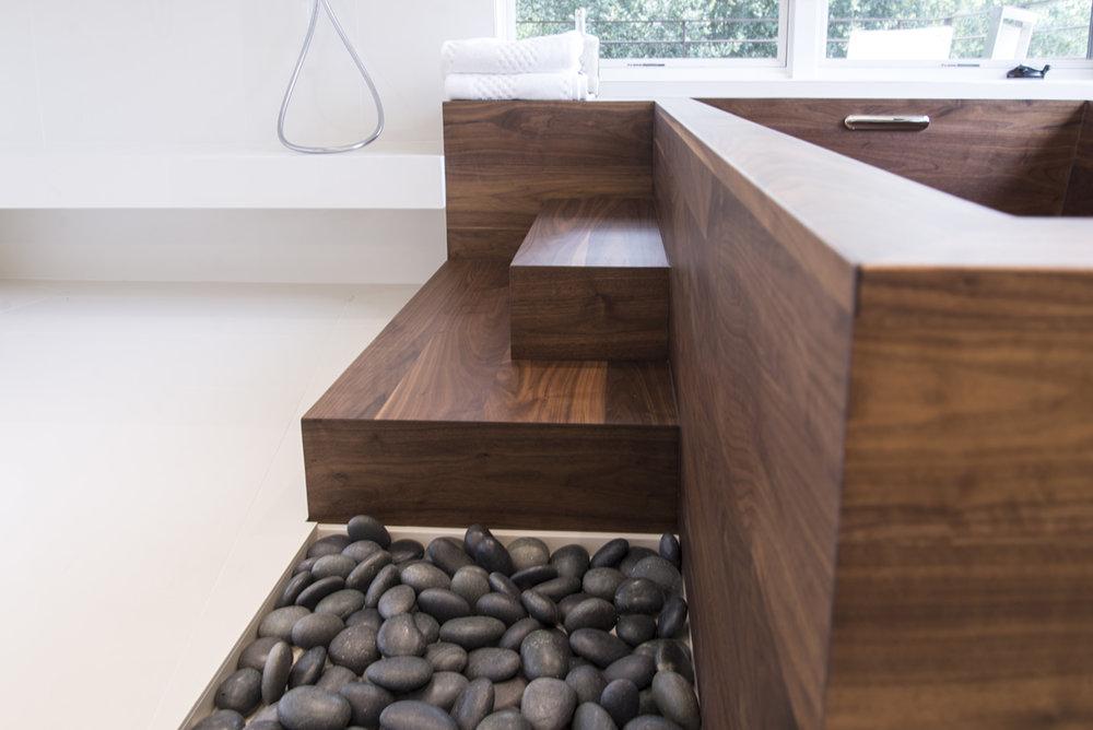 detail wood bathtub  made with walnut
