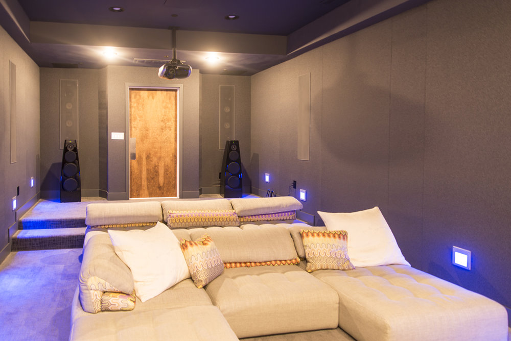 home theatre sofas and black walls