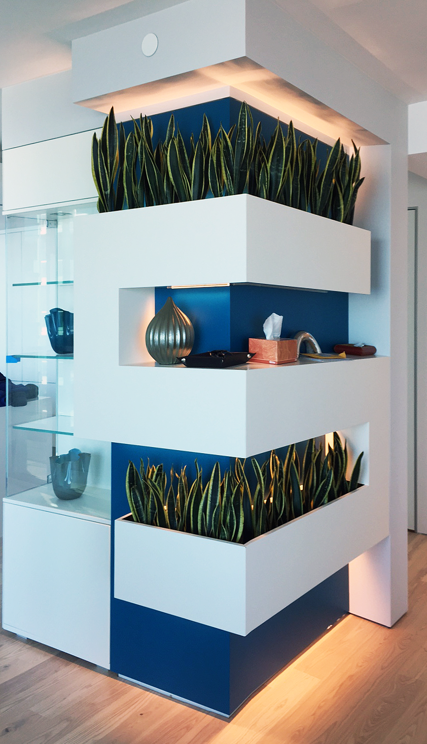 Planter wall in a corner with a blue panel on the back