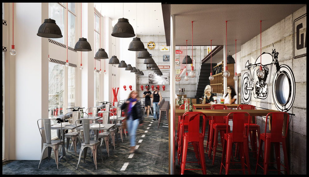 industrial restaurant views with red Tolix chairs