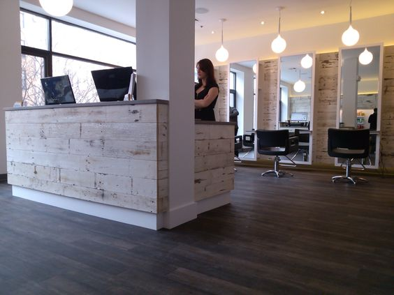 hair salon reception desk distressed wood