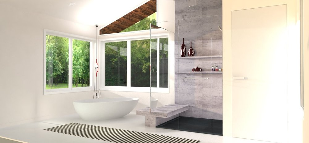 Master bathroom FREESTANDING bathtub option.
