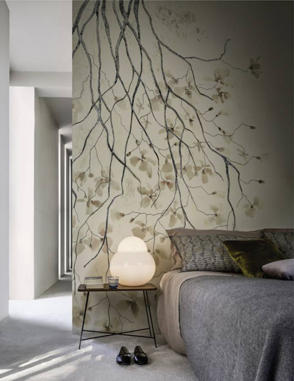 cherry tree blossom wallpaper in a bedroom