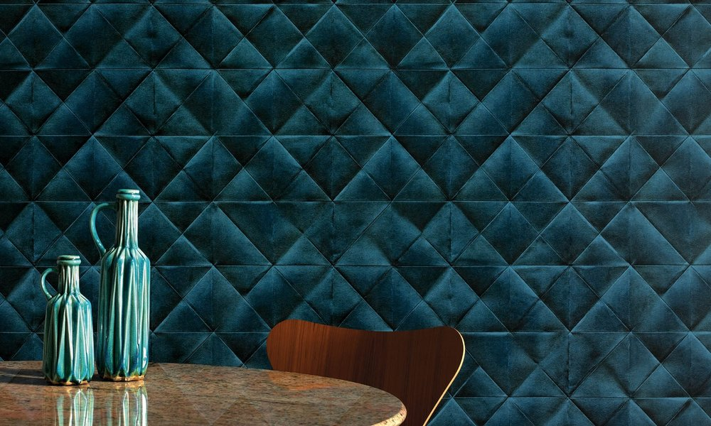 Blue wallpaper and a wood chair modern style