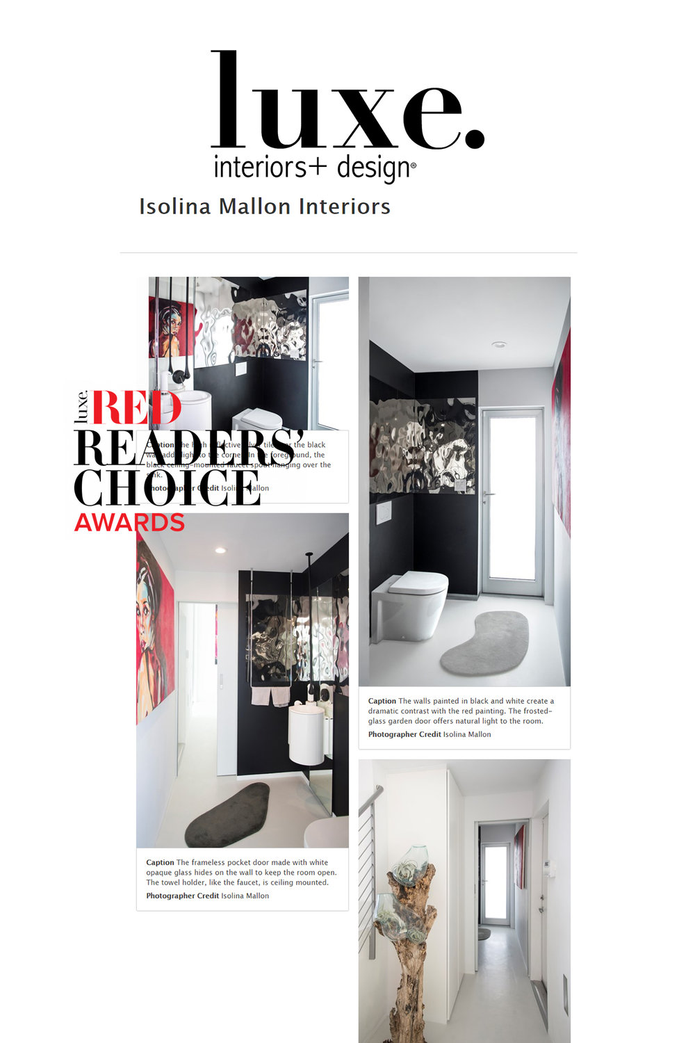 luxe interior + design red awards 2019   our submission for CONTEMPORARY bathroom design for luxe red readers choice awards 2019. this impressive powder room is part of our integral interior design and architecture detailing for a single family house made by architects herring & worley.   read more.
