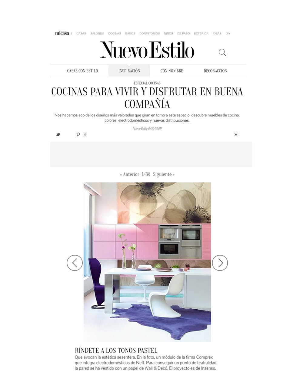 kitchens to live and enjoy in good company   our pink cabinets combined with the mural wallpaper were selected between the best kitchens to enjoy with family and friends by nuevo estilo magazine   read more.