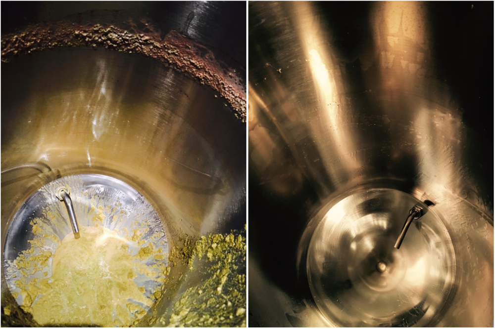 Before and after - Cleaning a stainless steel fermenter