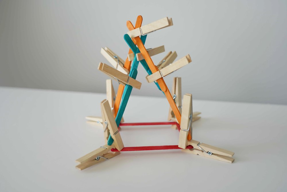 Perhaps clothespins and popsicle sticks will work better for the pyramid?