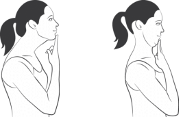Avoid tilting your head in any direction and slowly move your chin and head back to combat text neck.