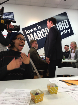 Erica Jordan being excited by the surprise appearance of Marco Rubio at his campaign headquarters in New Hampshire