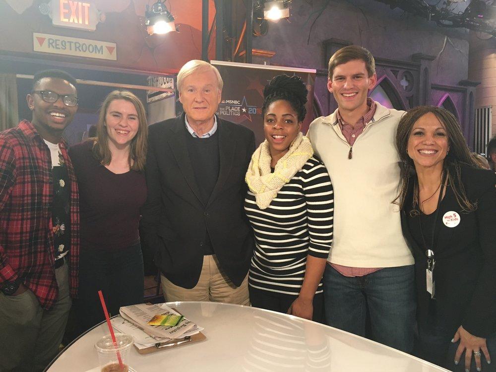 Zachary B., Katherine C., Chizoba U., Austin C., and MHP meet with Chris Matthews on the set of  Hardball at the Iowa Caucus