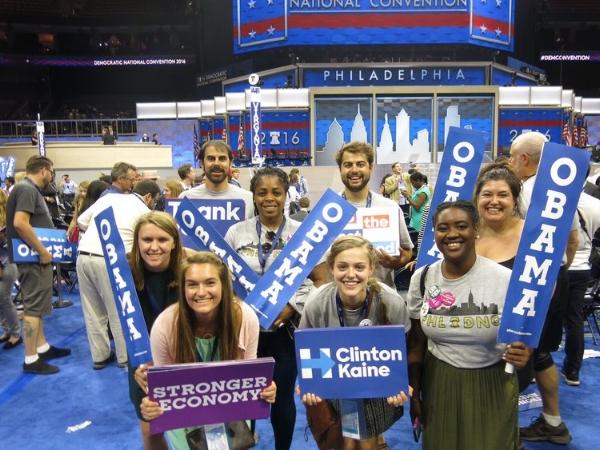 Wake the Vote members: Katherine C., Ciera C., Chizoba U., Hannah D., Camry W.,Nick B. Staff: Brad, Marianne M. at the DNC