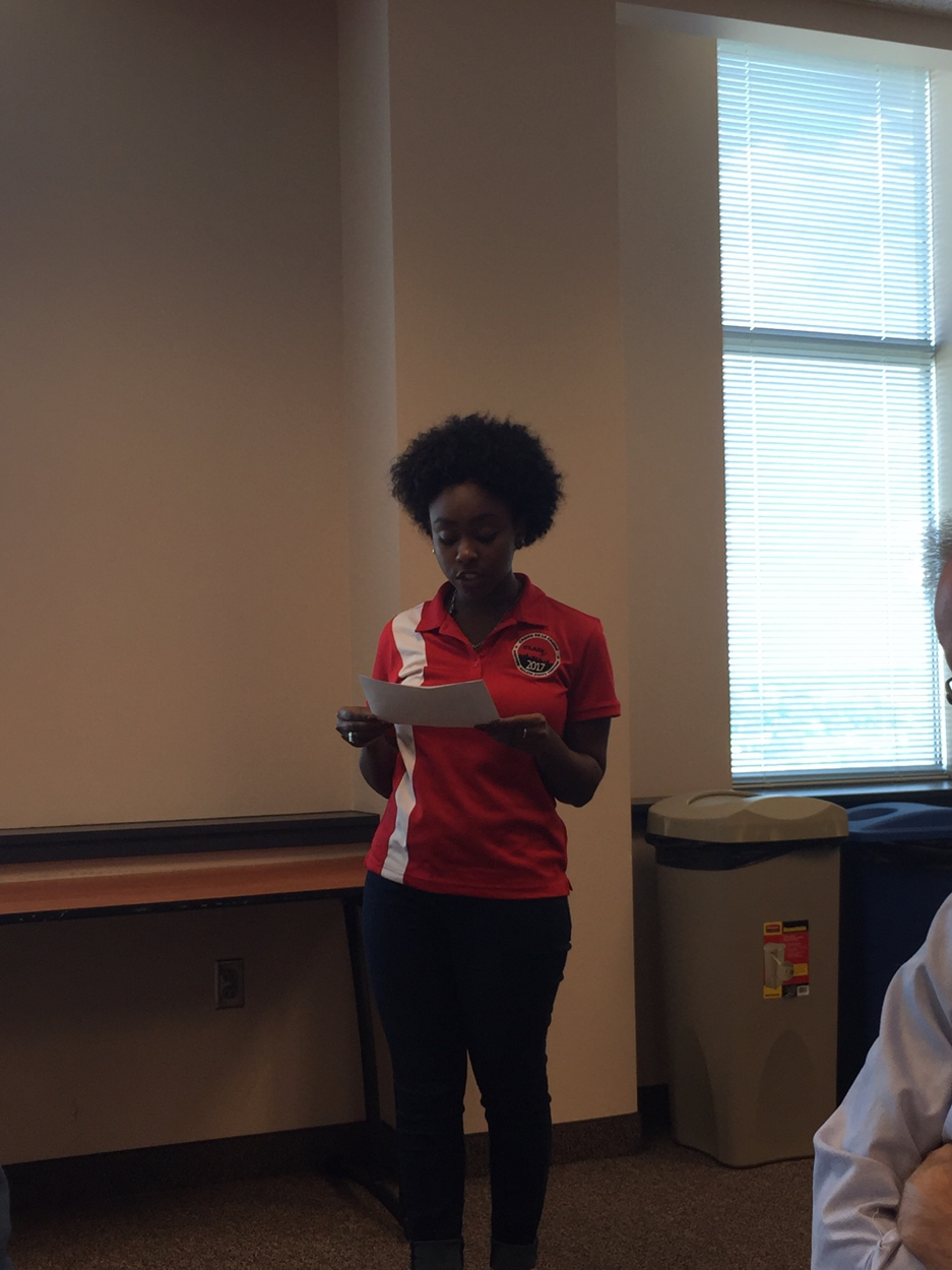 Winston-Salem State University Student Government Association President speaking about the parallels of historic discrimination in the voting process and the actions the Board is currently taking.