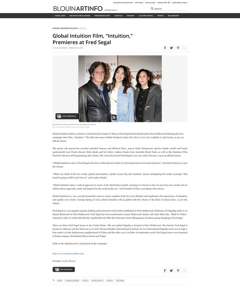 """Global Intuition Film, """"Intuition,"""" Premieres at Fred Segal _ BLOUIN ARTINFO.png"""
