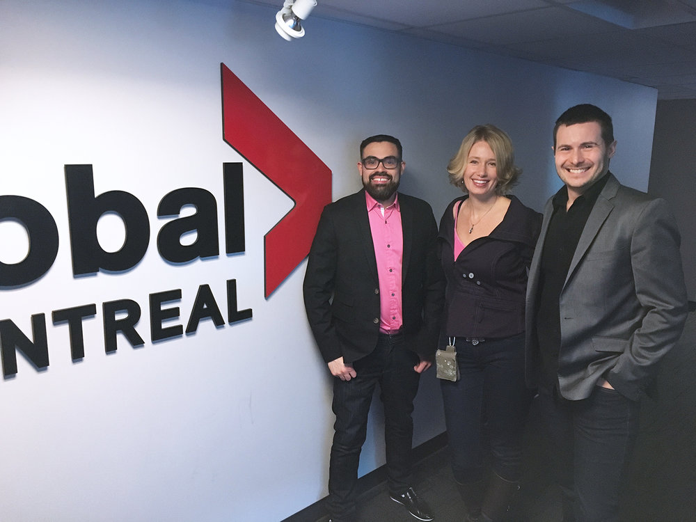 Jono Dorion, Denise Buisman Pilger and Louis Bernard St Jean at the Global TV Montréal studio.