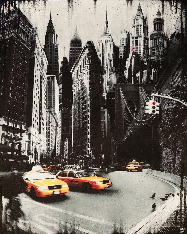 """NYC Traffic"" Mixed media on wood, 20″ x 16″"