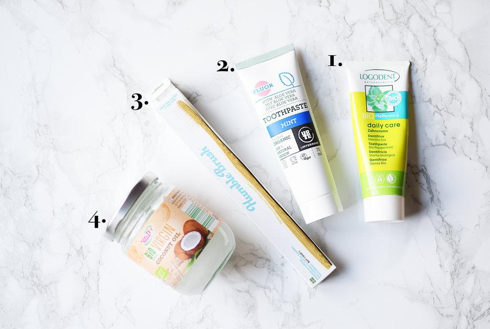 Denna bild visar vilka produkter jag använder för tandvård för tillfället.