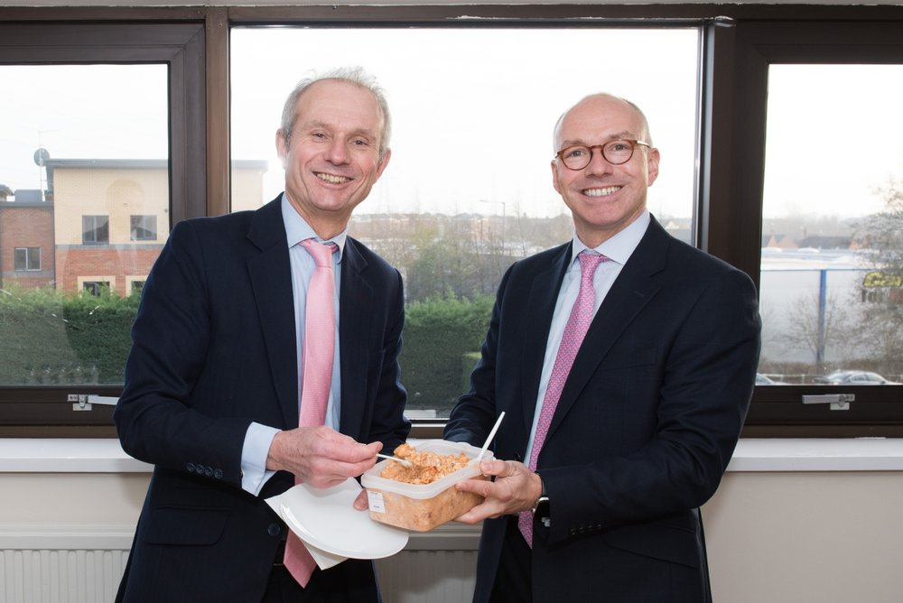 (l-r) The Rt Hon David Lidington, Aylesbury MP & Christoph Haschka, Chiltern Foods CEO with Chiltern Foods product.