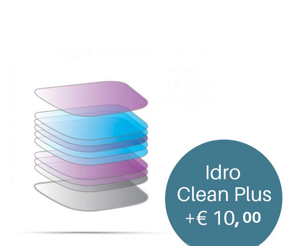 Trattamento Idro Clean Plus   Super trattamento idrofobico multistrato.Aumenta la durata, la trasparenza e le performance visive della tua lente. Ideale durante la guida, specialmente notturna.