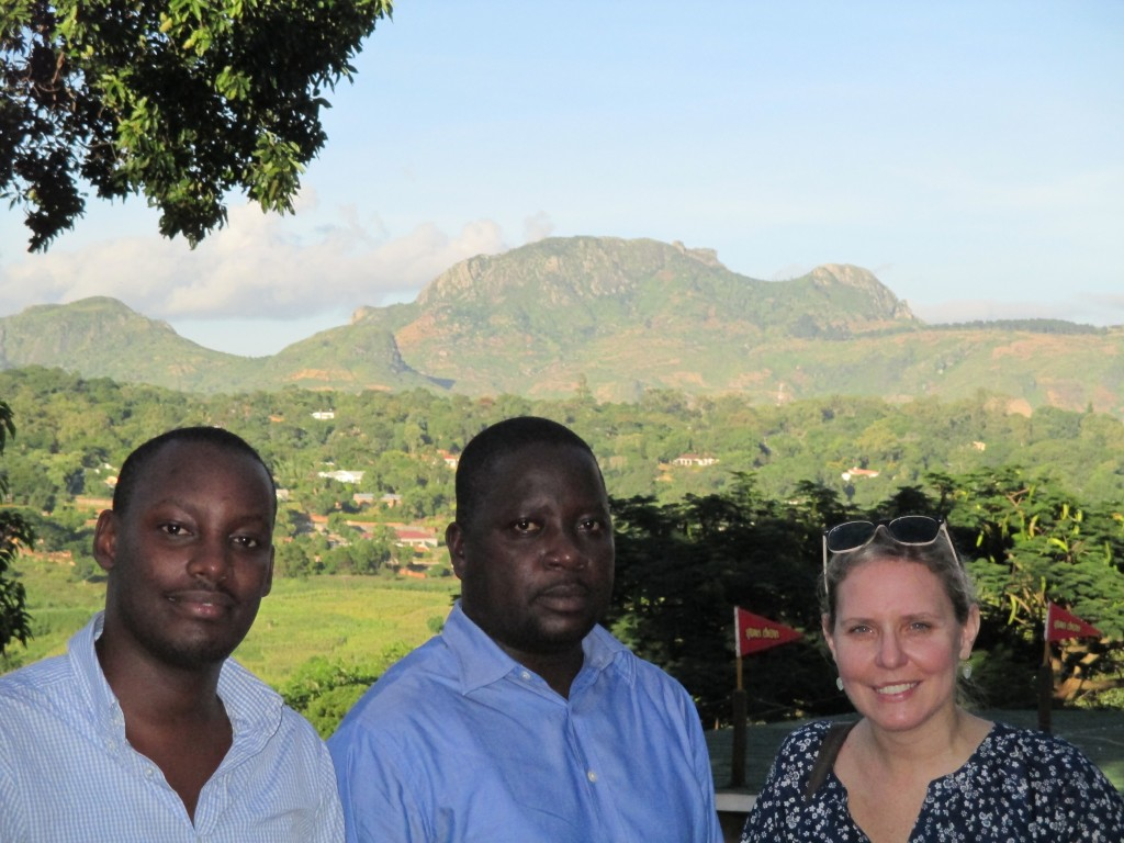 Asiimwe Allan, ITWA IT lead, Innocent Alli Balpe, ITWA attorney, and Kristen Destigter at a site visit in Malawi