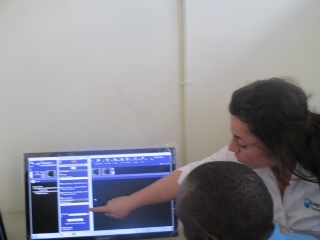 Sarah demonstrates the peer review quality assurance application with the Mubende team