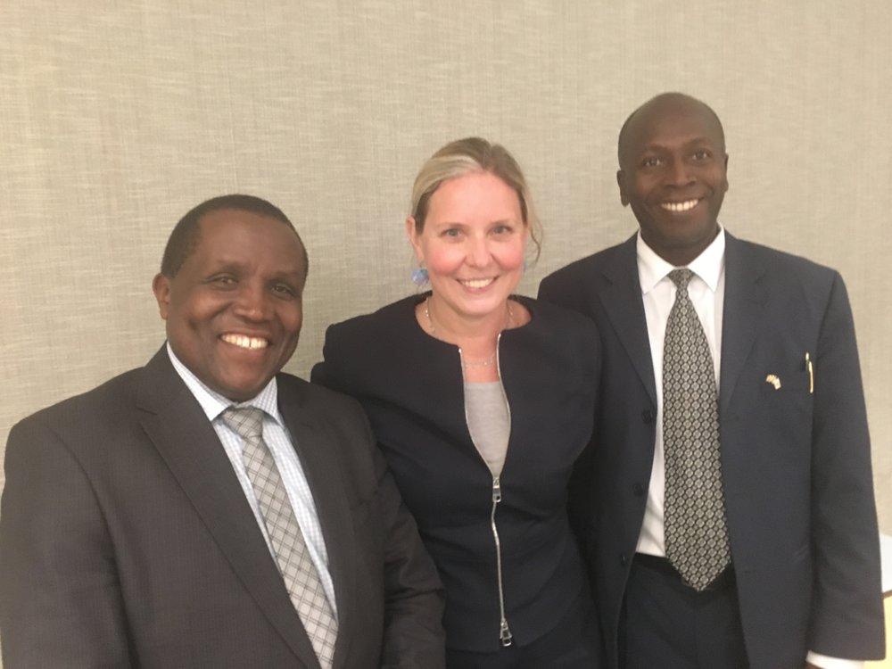 Dr Nazarius Mbona Tumwesigye and Dr Noah Kiwanuka with Dr Kristen DeStigter.