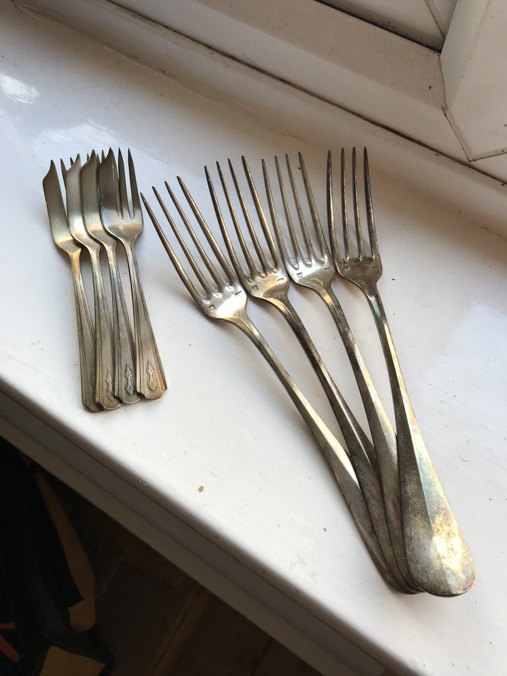 Silver plated forks for fancy dinning.