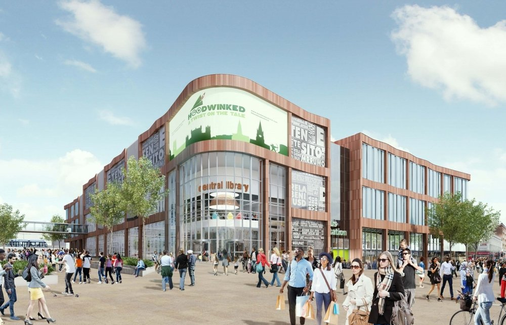 The proposed new central library in Broadmarsh, Nottingham.