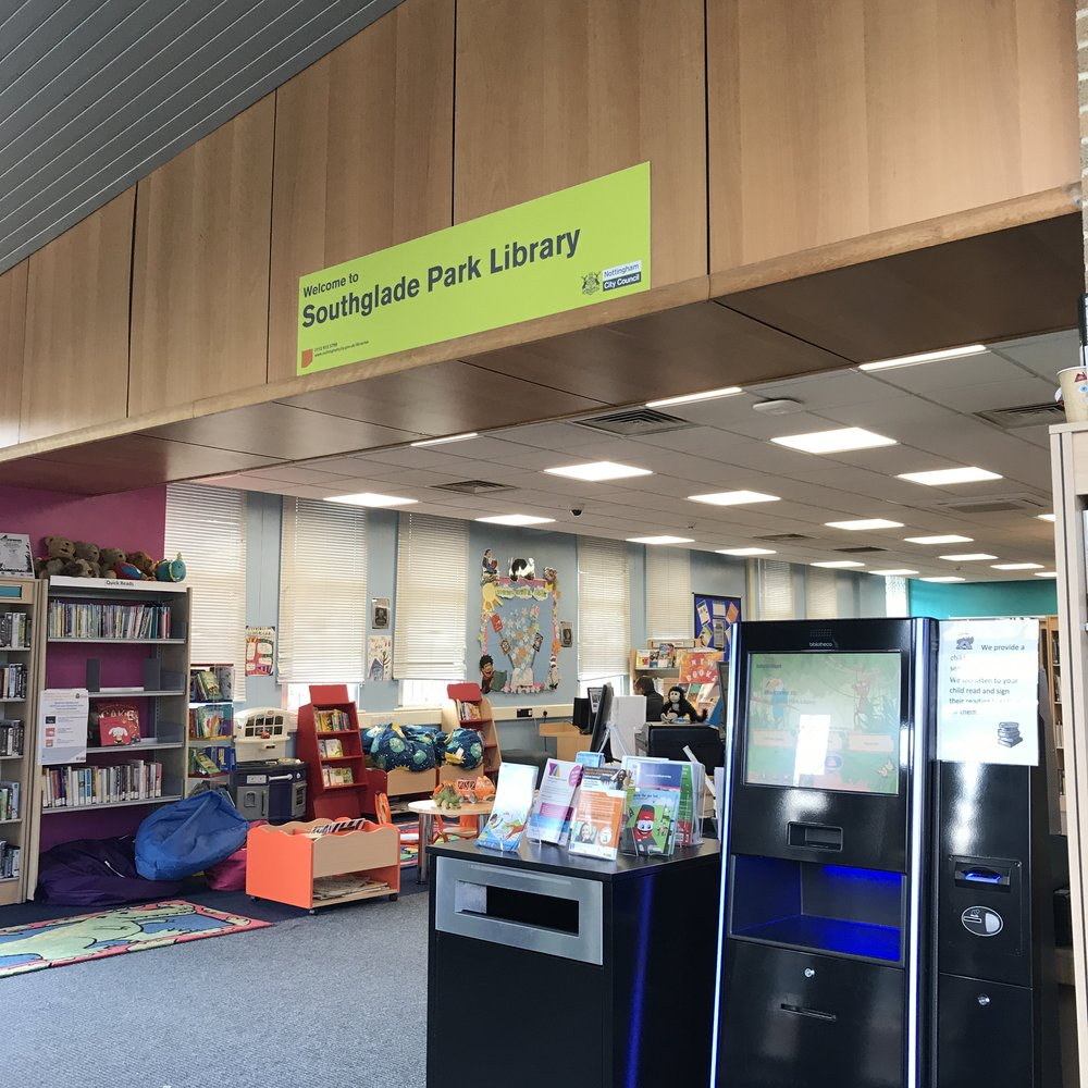 Inside Southglade Park Library looking towards the Totstime area.
