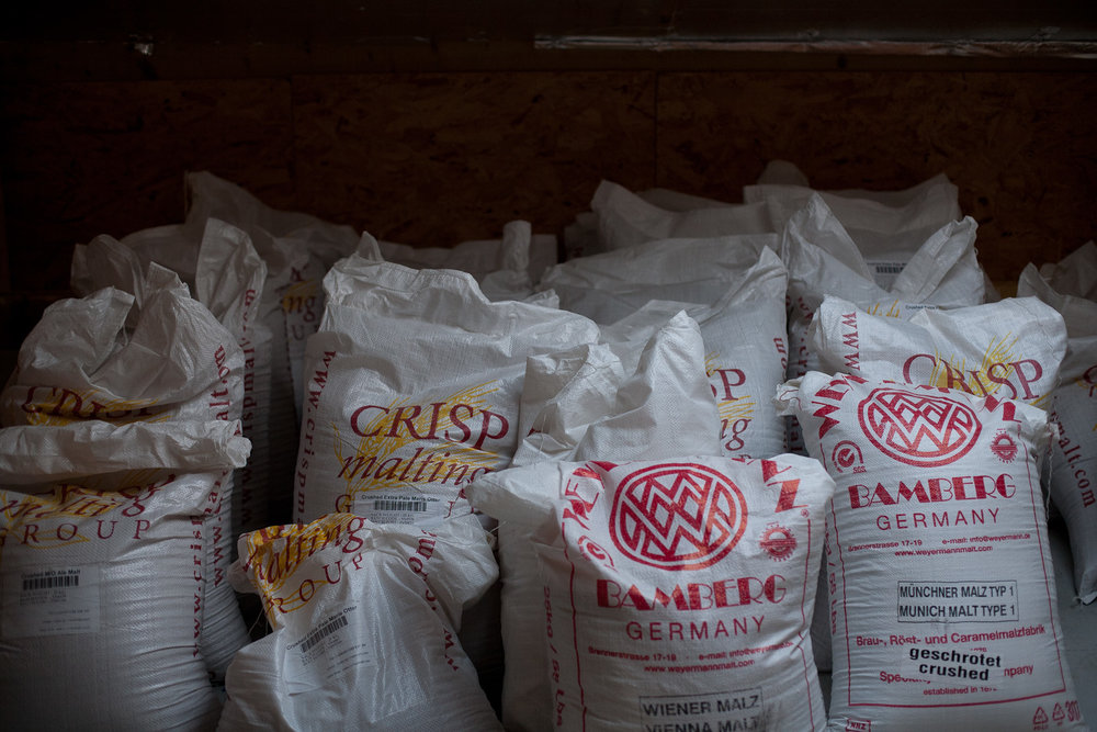 Malt sacks at Gun Brewery