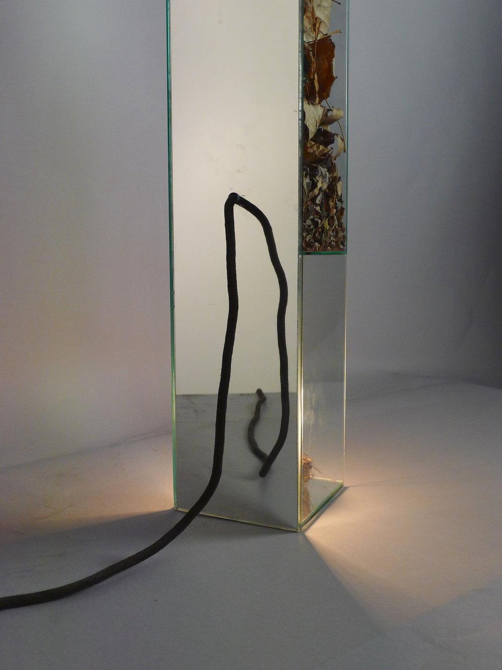 309.3.ESPAÇO-TEMPO.Vidro float, espelho e matéria prima, 80 x 13.5 x 13.5 cm, 2013.JPG