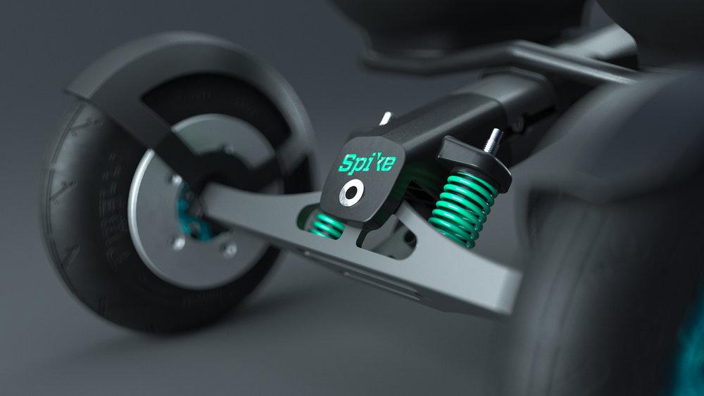 Lar deg ta styringen - SPIKE styres ved hjelp av tyngdeoverføring. Du kan dermed skape fremdrift og holde kursen samtidig. Ujevn vekt- og styrkebalanse kan kompenseres for ved individuell justering av fjæringene.