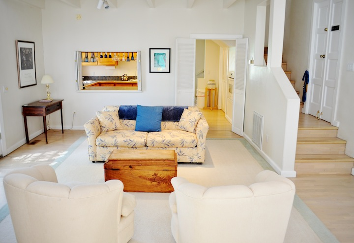 The living room area of the Gallery Wing; the sofa becomes a Queen-sized bed.