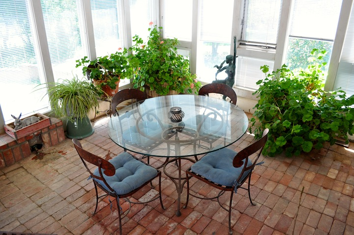 The sunroom and dining area for the Gallery Wing. Enjoy Henriette's flowers!