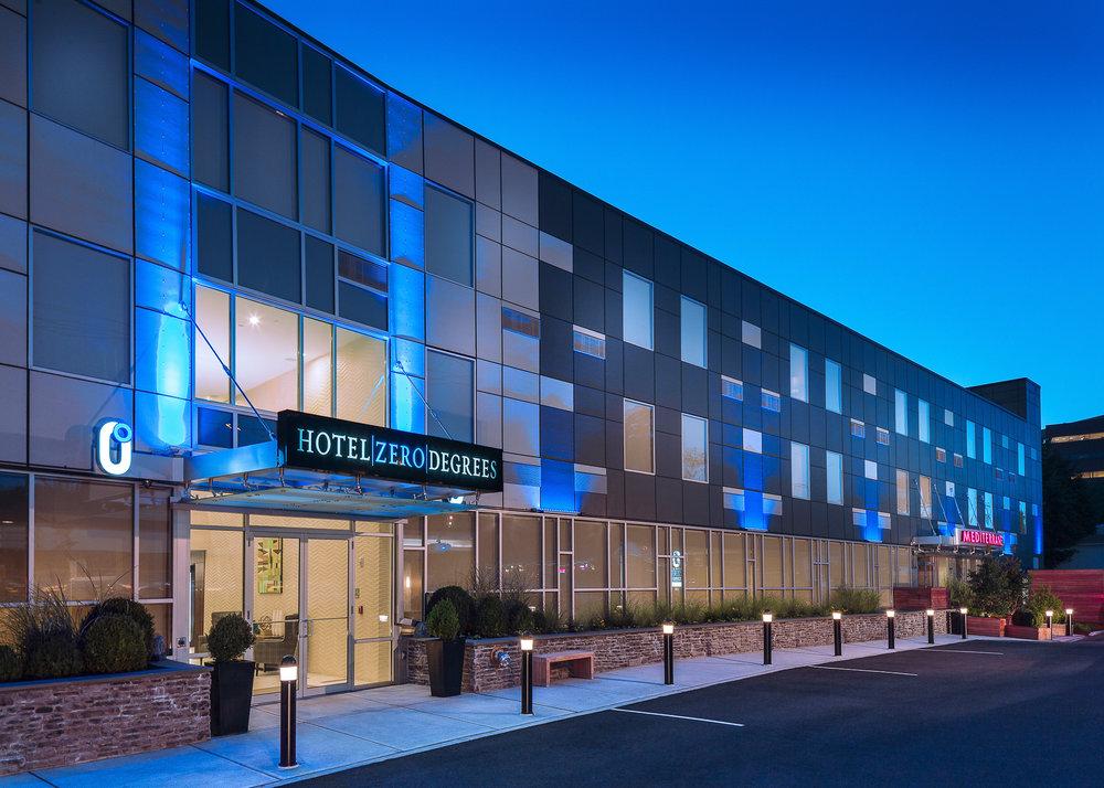 Hotel Zero Degrees Norwalk at dusk.