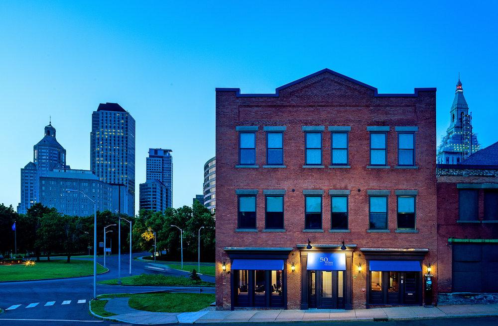 Hartford skyline and 50 Elm Cafe & Spirits, Hartford, CT. Architectural design by John Emerson Washington, Architect.