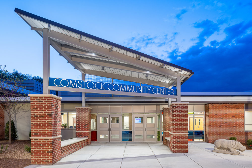 Main entrance to Comstock Community Center, Wilton CT. Architectural design by Quisenberry Arcari Malik Architects.