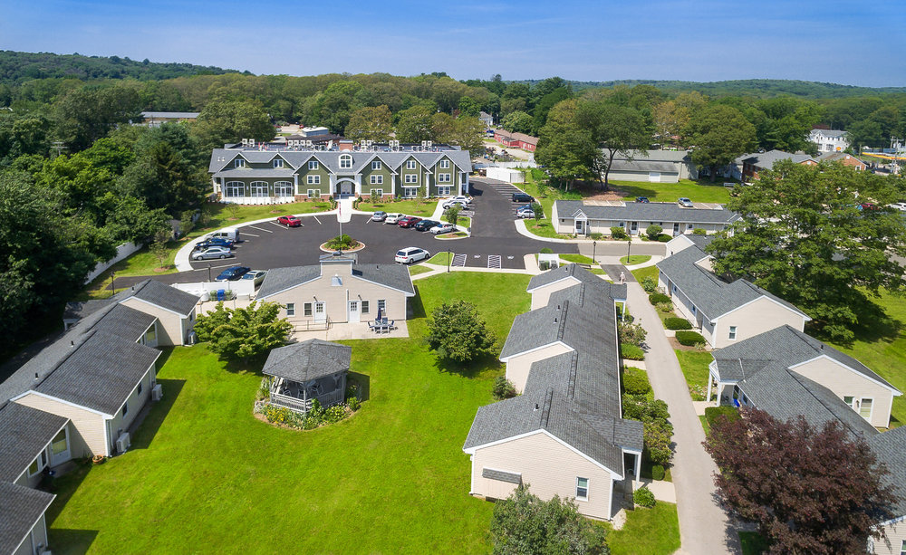 Drone aerial of Essex Place, Essex CT. Architectural design by Quisenberry Arcari Malik Architects.