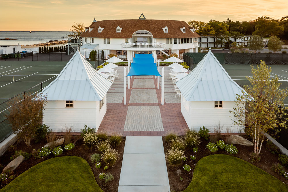 Tokeneke Beach Club  Darien CT at sunset. Architectural design by PBS Architects and Rogers McCagg Architects.