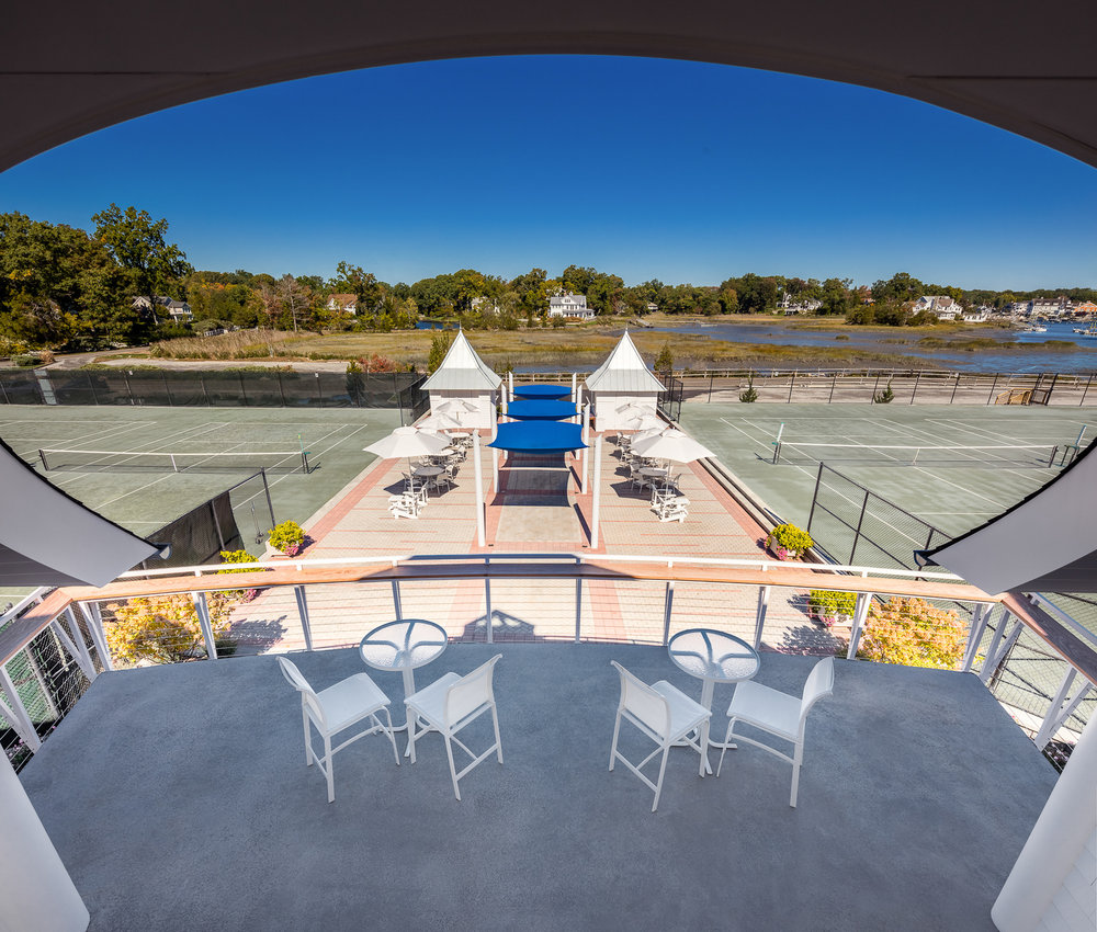 Balcony of Tokeneke Beach Club  Darien, CT. Architectural design by PBS Architects and Rogers McCagg Architects.