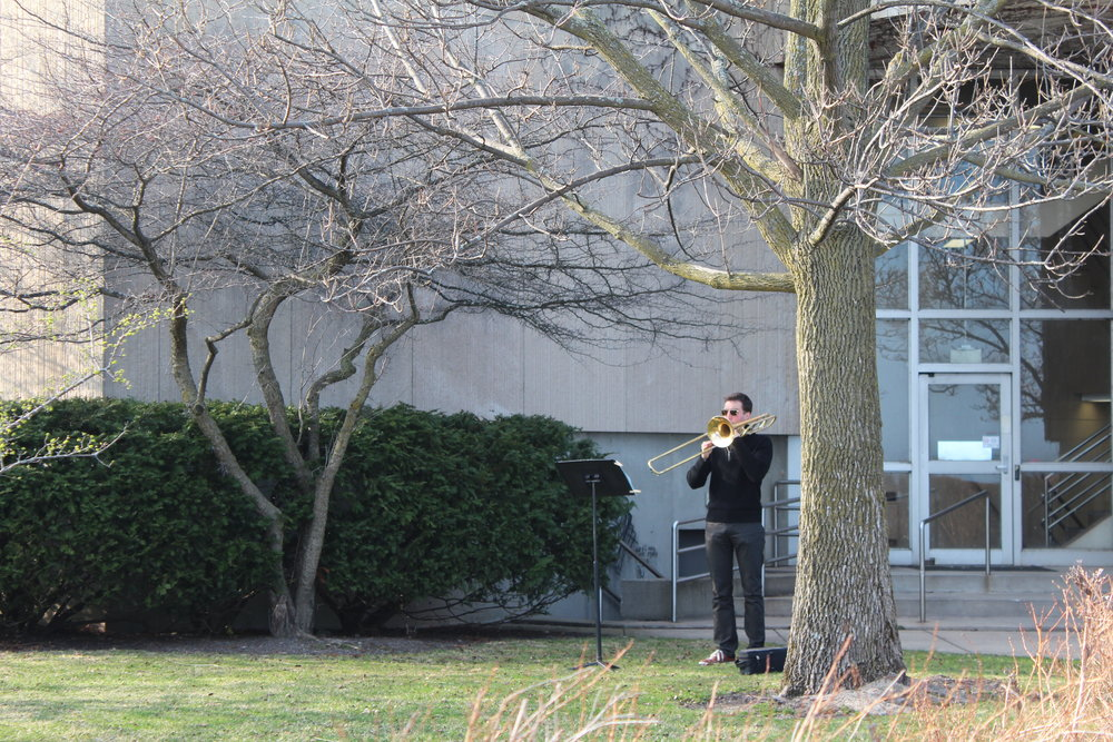 Practicing outside the old Regenstein music building at Northwestern